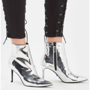 Topshop Mimosa Silver Metallic Ankle Boots 5.5